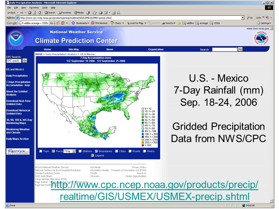 U.S. - Mexico 7-Day Rainfall (mm) Sep.