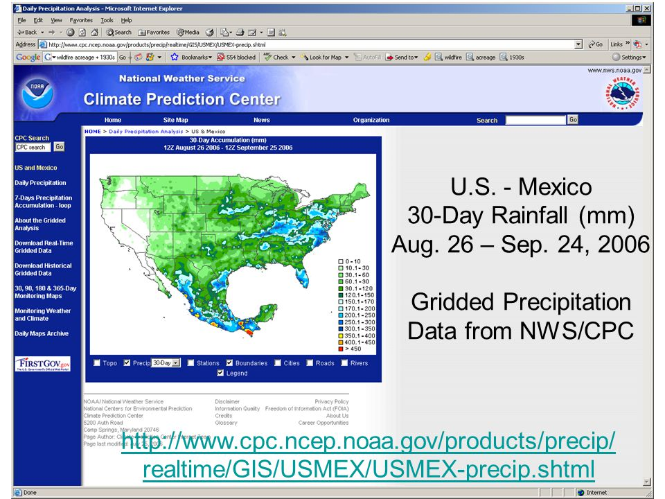 U.S. - Mexico 30-Day Rainfall (mm) Aug. 26 – Sep.