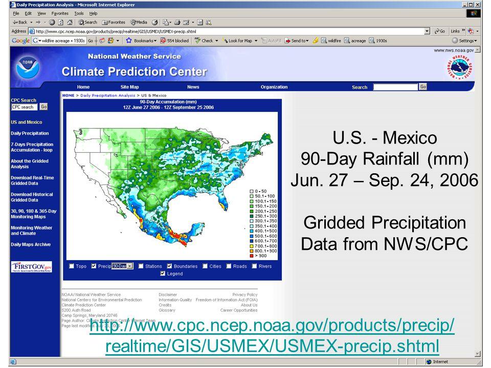 U.S. - Mexico 90-Day Rainfall (mm) Jun. 27 – Sep.