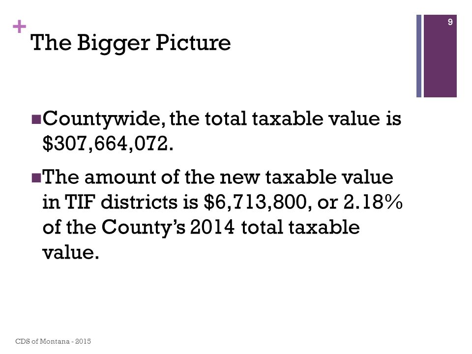 + The Bigger Picture Countywide, the total taxable value is $307,664,072.