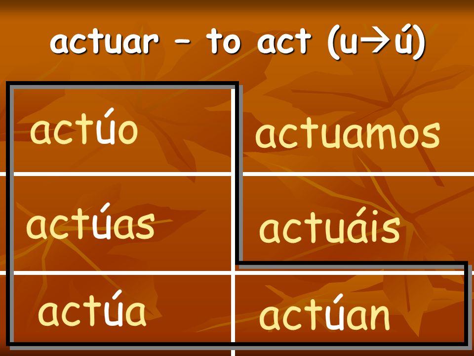 actuar – to act (u  ú) actúo actúas actúa actuamos actuáis actúan