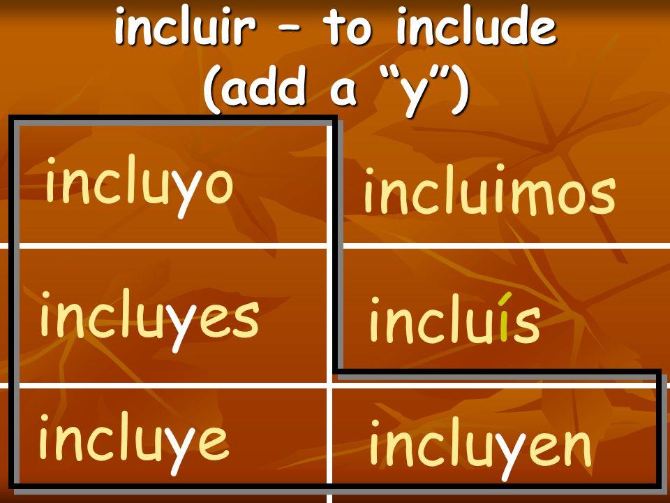 incluir – to include (add a y ) incluyo incluyes incluye inclu i mos incluís incluyen