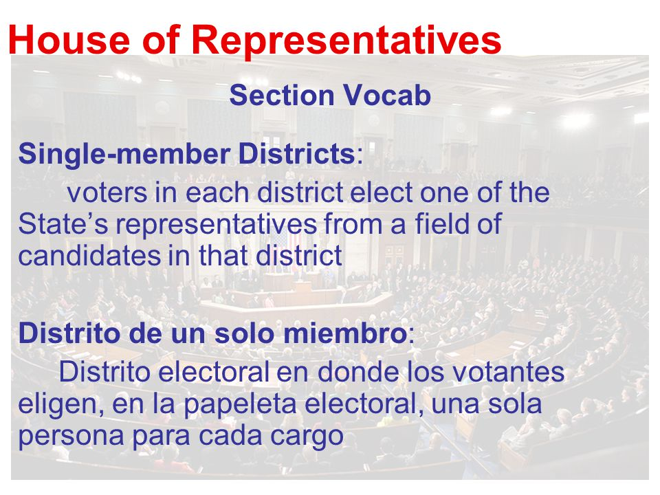 House of Representatives Section Vocab Single-member Districts: voters in each district elect one of the State's representatives from a field of candi