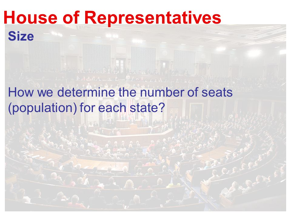 House of Representatives Size How we determine the number of seats (population) for each state