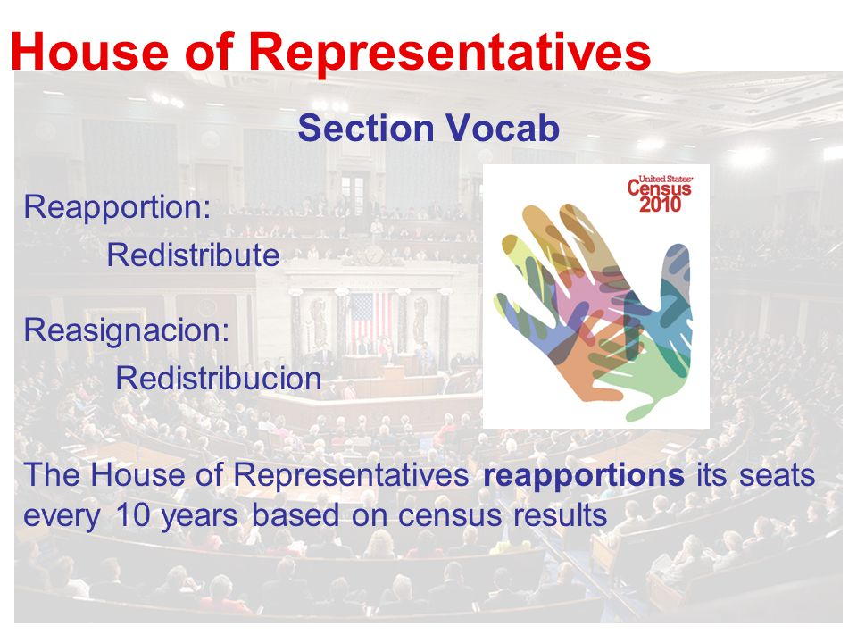 House of Representatives Section Vocab Reapportion: Redistribute Reasignacion: Redistribucion The House of Representatives reapportions its seats every 10 years based on census results