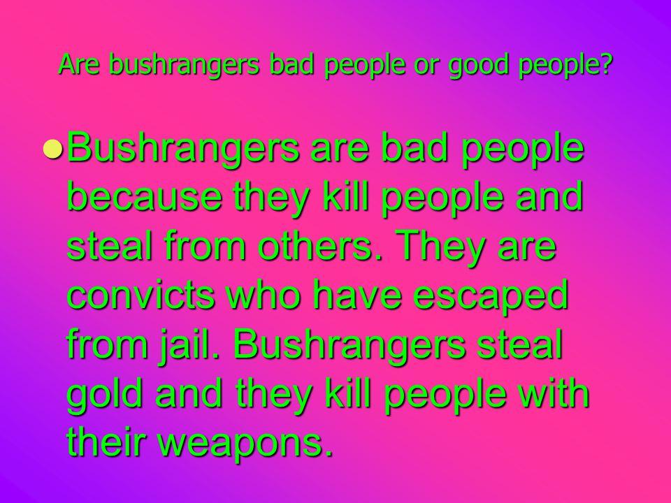 Are bushrangers bad people or good people.
