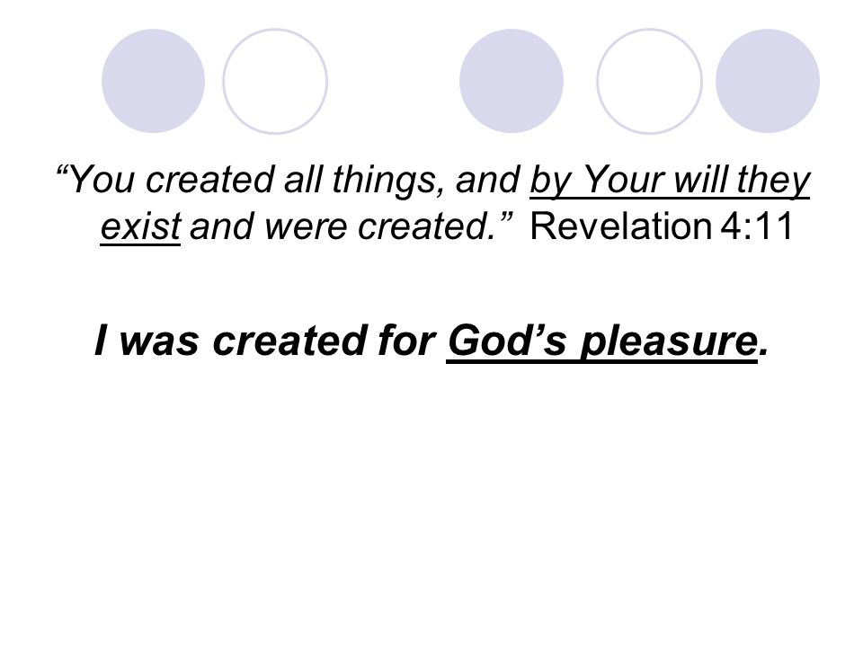 I was created for God's pleasure.