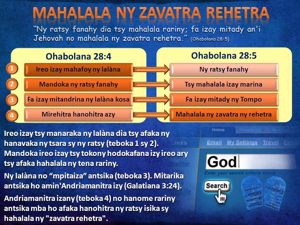 """""""Ny ratsy fanahy dia tsy mahalala rariny; fa izay mitady an'i Jehovah no mahalala ny zavatra rehetra."""" (Ohabolana 28:5) Ohabolana 28:4 Ireo izay mahaf"""
