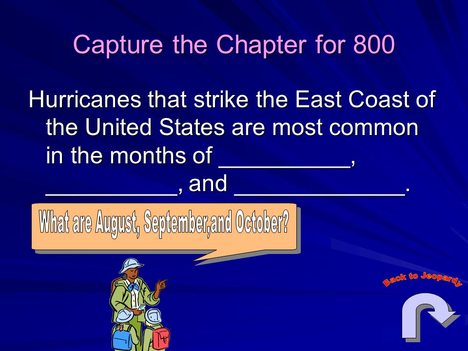 Capture the Chapter for 800 Hurricanes that strike the East Coast of the United States are most common in the months of __________, __________, and _____________.