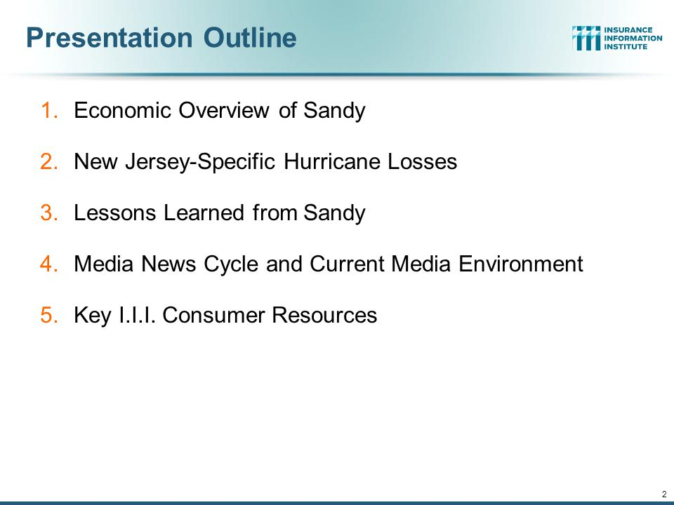 Presentation Outline 1.Economic Overview of Sandy 2.New Jersey-Specific Hurricane Losses 3.Lessons Learned from Sandy 4.Media News Cycle and Current Media Environment 5.Key I.I.I.