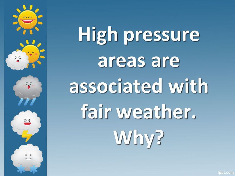 High pressure areas are associated with fair weather. Why