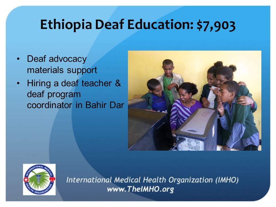 Ethiopia Deaf Education: $7,903 Deaf advocacy materials support Hiring a deaf teacher & deaf program coordinator in Bahir Dar