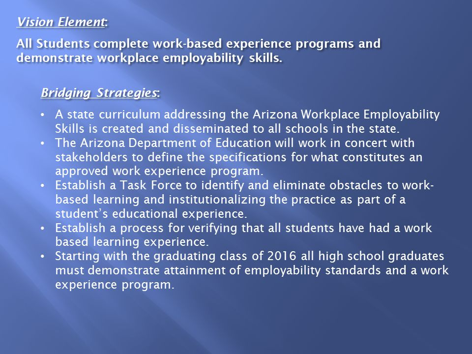 Vision Element: All Students complete work-based experience programs and demonstrate workplace employability skills.