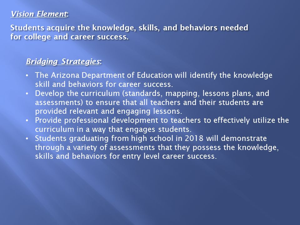 Vision Element: Students acquire the knowledge, skills, and behaviors needed for college and career success.