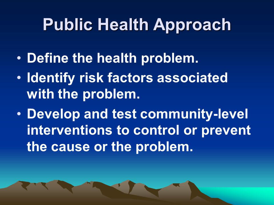 Public Health Approach Define the health problem.
