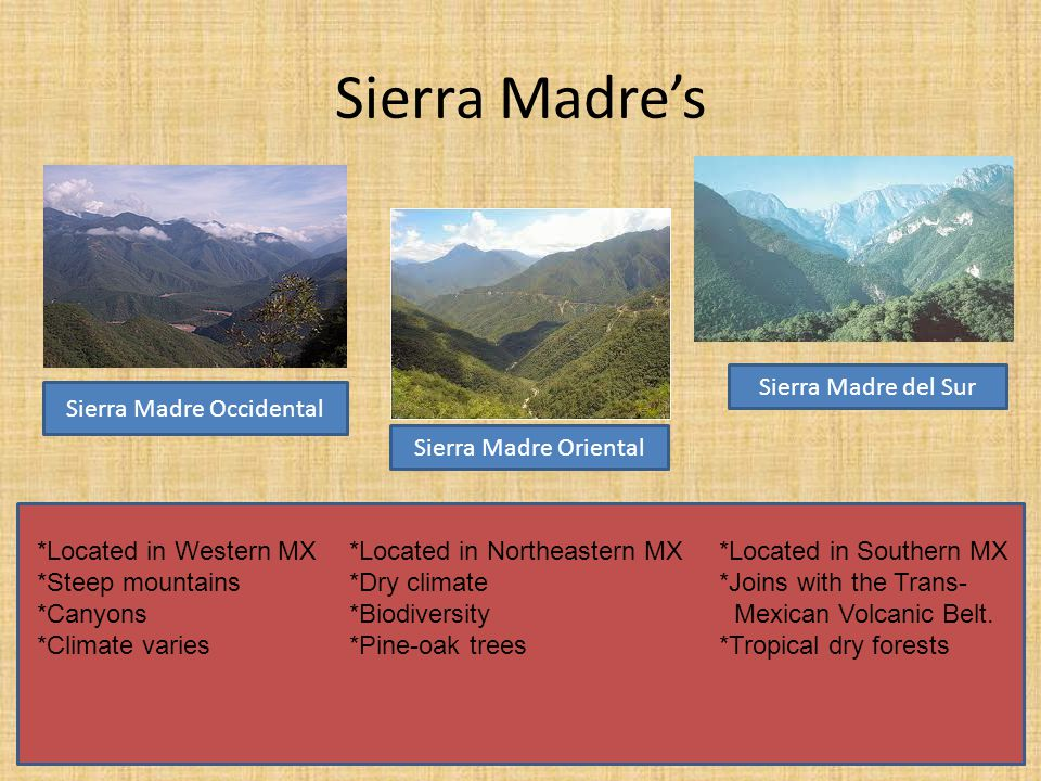 Sierra Madre's Sierra Madre Occidental Sierra Madre Oriental Sierra Madre del Sur *Located in Western MX*Located in Northeastern MX *Located in Southern MX *Steep mountains*Dry climate *Joins with the Trans- *Canyons*Biodiversity Mexican Volcanic Belt.