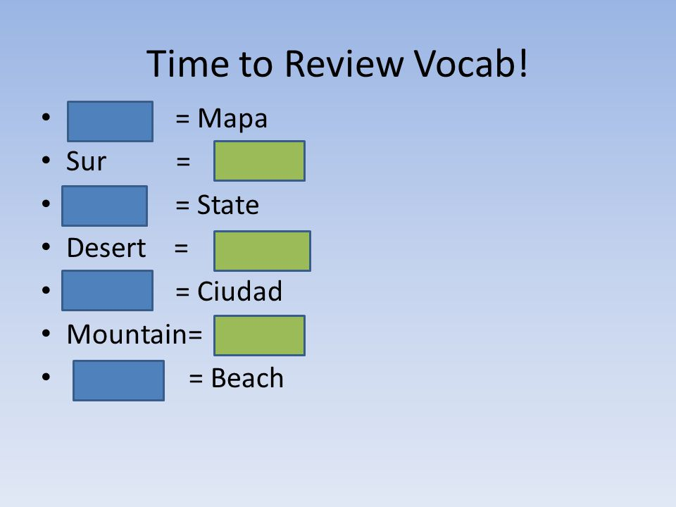 Time to Review Vocab! = Mapa Sur= = = State Desert = = Ciudad Mountain= = Beach