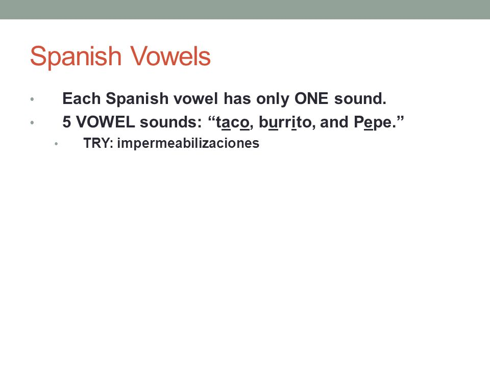 Spanish Vowels Each Spanish vowel has only ONE sound.