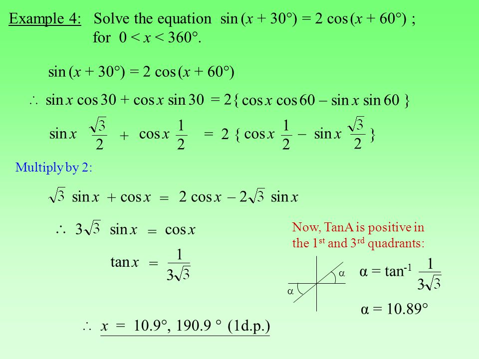 Example 4: Solve the equation sin (x + 30°) = 2 cos (x + 60°) ; for 0 < x < 360°.