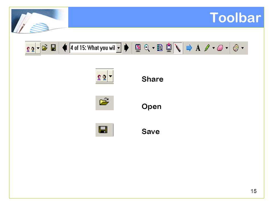 15 Toolbar Share Open Save