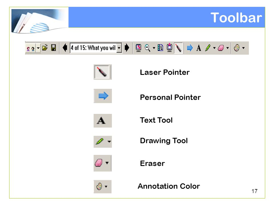 17 Toolbar Personal Pointer Text Tool Drawing Tool Eraser Annotation Color Laser Pointer