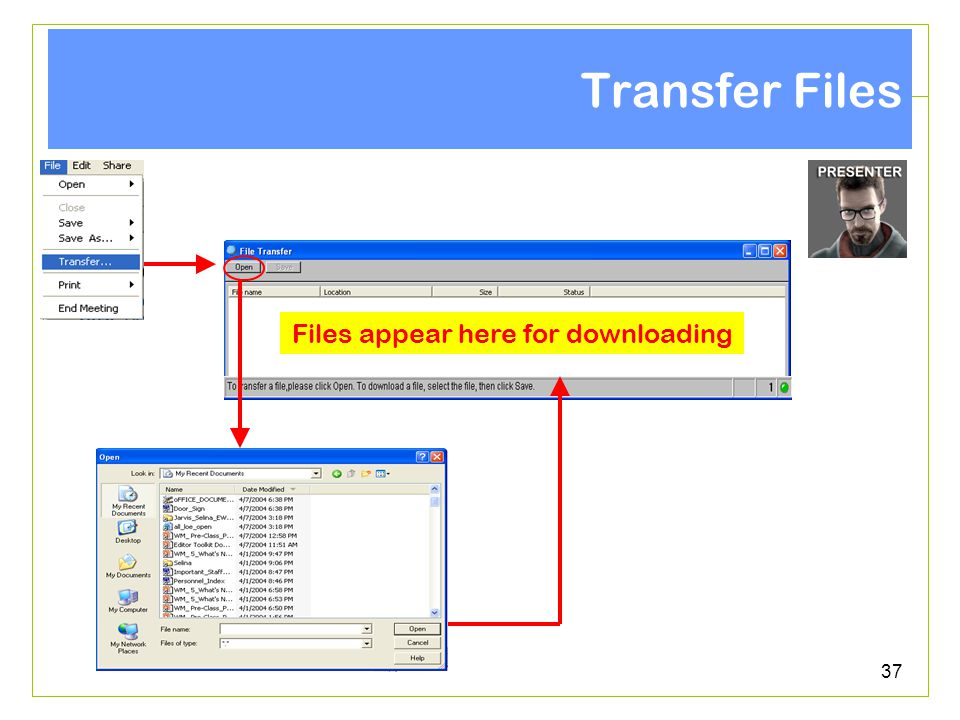 37 Transfer Files Files appear here for downloading