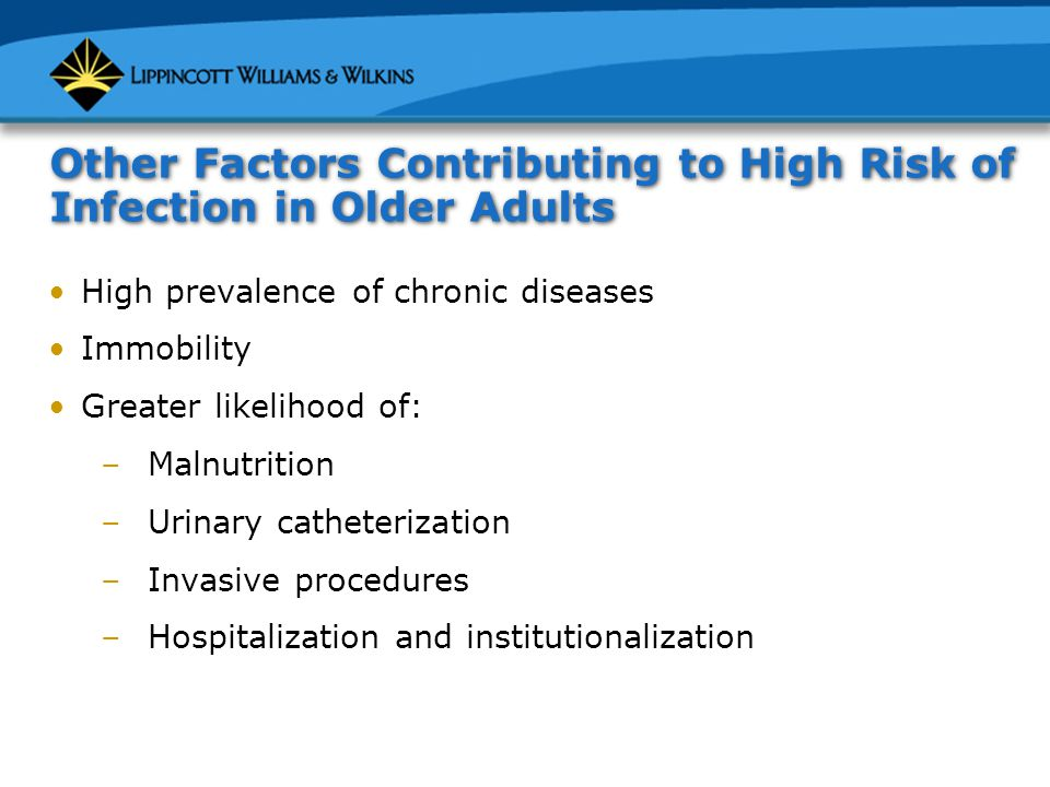 Other Factors Contributing to High Risk of Infection in Older Adults High prevalence of chronic diseases Immobility Greater likelihood of: –Malnutrition –Urinary catheterization –Invasive procedures –Hospitalization and institutionalization
