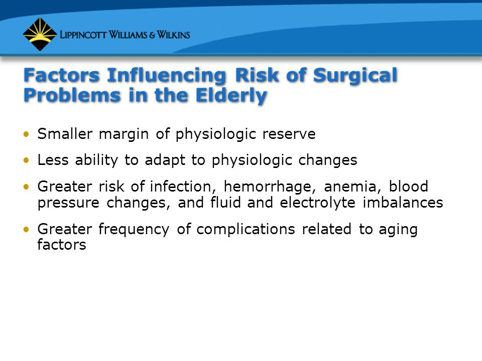 Factors Influencing Risk of Surgical Problems in the Elderly Smaller margin of physiologic reserve Less ability to adapt to physiologic changes Greater risk of infection, hemorrhage, anemia, blood pressure changes, and fluid and electrolyte imbalances Greater frequency of complications related to aging factors