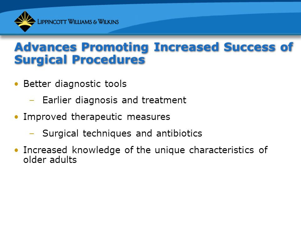 Advances Promoting Increased Success of Surgical Procedures Better diagnostic tools –Earlier diagnosis and treatment Improved therapeutic measures –Surgical techniques and antibiotics Increased knowledge of the unique characteristics of older adults