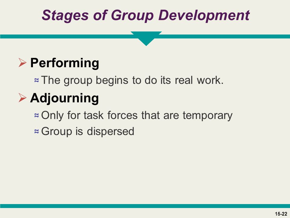 15-22 Stages of Group Development  Performing ≈ The group begins to do its real work.  Adjourning ≈ Only for task forces that are temporary ≈ Group