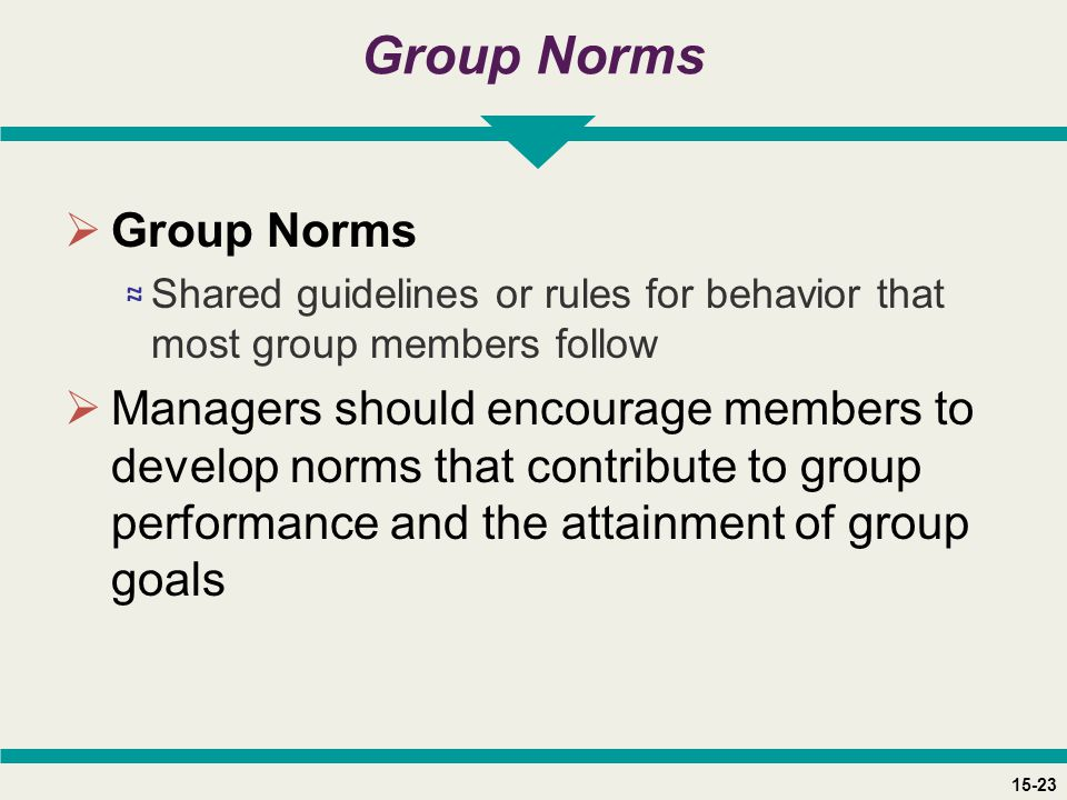 15-23 Group Norms  Group Norms ≈ Shared guidelines or rules for behavior that most group members follow  Managers should encourage members to develo