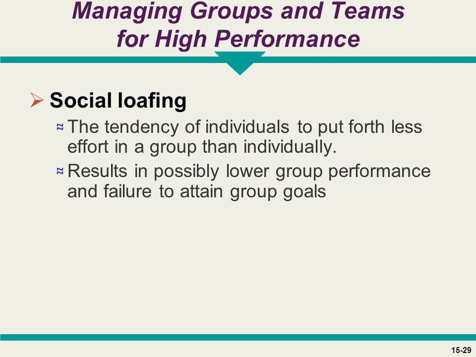 15-29 Managing Groups and Teams for High Performance  Social loafing ≈ The tendency of individuals to put forth less effort in a group than individua