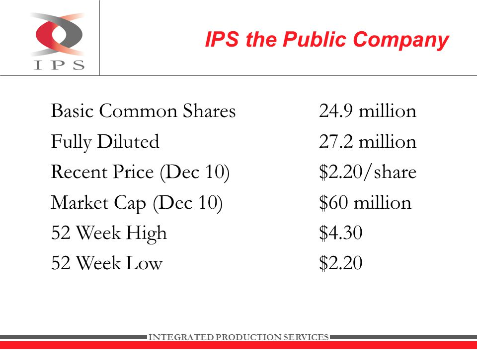 INTEGRATED PRODUCTION SERVICES Basic Common Shares24.9 million Fully Diluted 27.2 million Recent Price (Dec 10)$2.20/share Market Cap (Dec 10)$60 million 52 Week High$ Week Low$2.20 IPS the Public Company