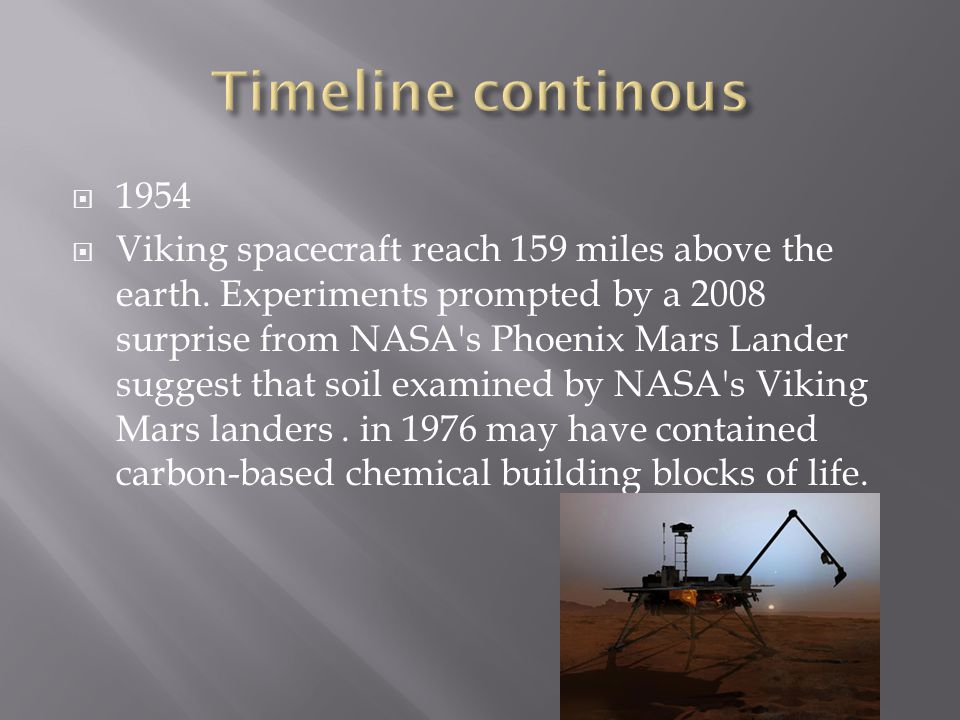  1954  Viking spacecraft reach 159 miles above the earth.