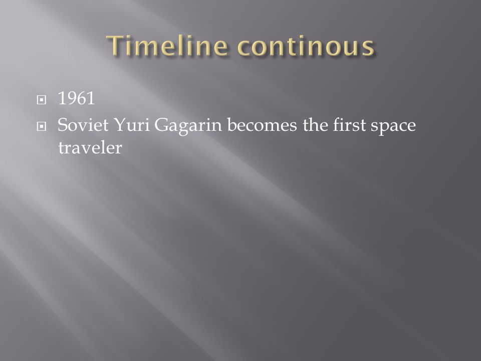  1961  Soviet Yuri Gagarin becomes the first space traveler