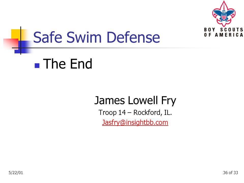 Safe Swim Defense S M A L L B A D 5/22/0135 of 33