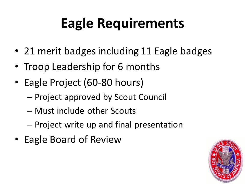 Eagle Requirements 21 merit badges including 11 Eagle badges Troop Leadership for 6 months Eagle Project (60-80 hours) – Project approved by Scout Council – Must include other Scouts – Project write up and final presentation Eagle Board of Review