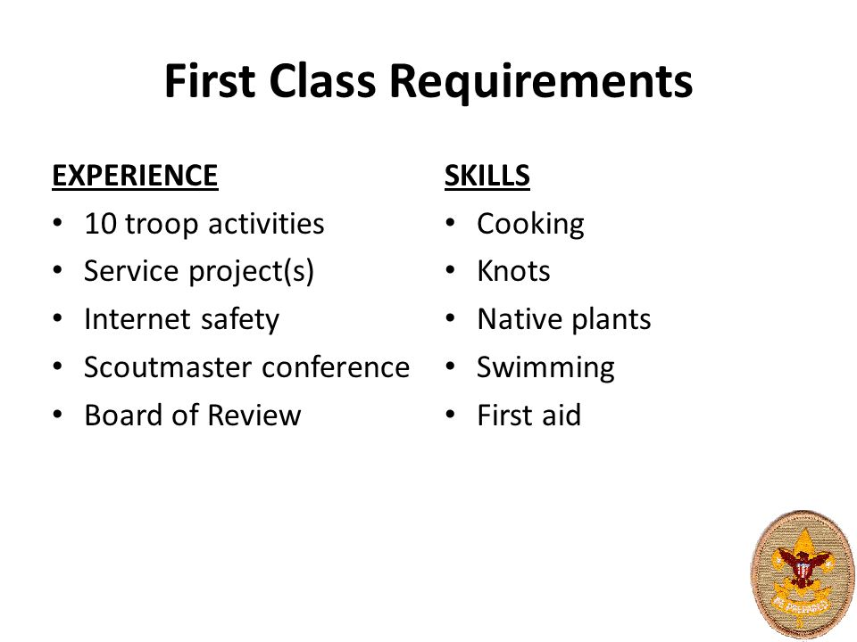 First Class Requirements EXPERIENCE 10 troop activities Service project(s) Internet safety Scoutmaster conference Board of Review SKILLS Cooking Knots Native plants Swimming First aid