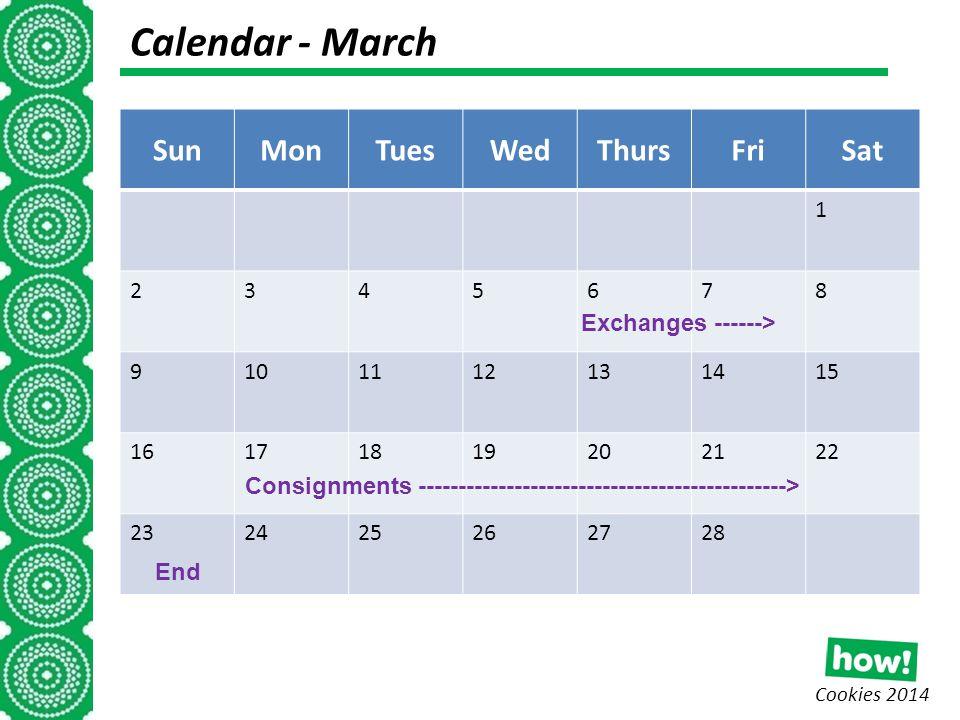 Cookies 2014 Calendar - March (I week) SunMonTuesWedThursFriSat 1 2345678 9101112131415 16171819202122 232425262728 Consignments ----------------------------------------------> Exchanges ------> End