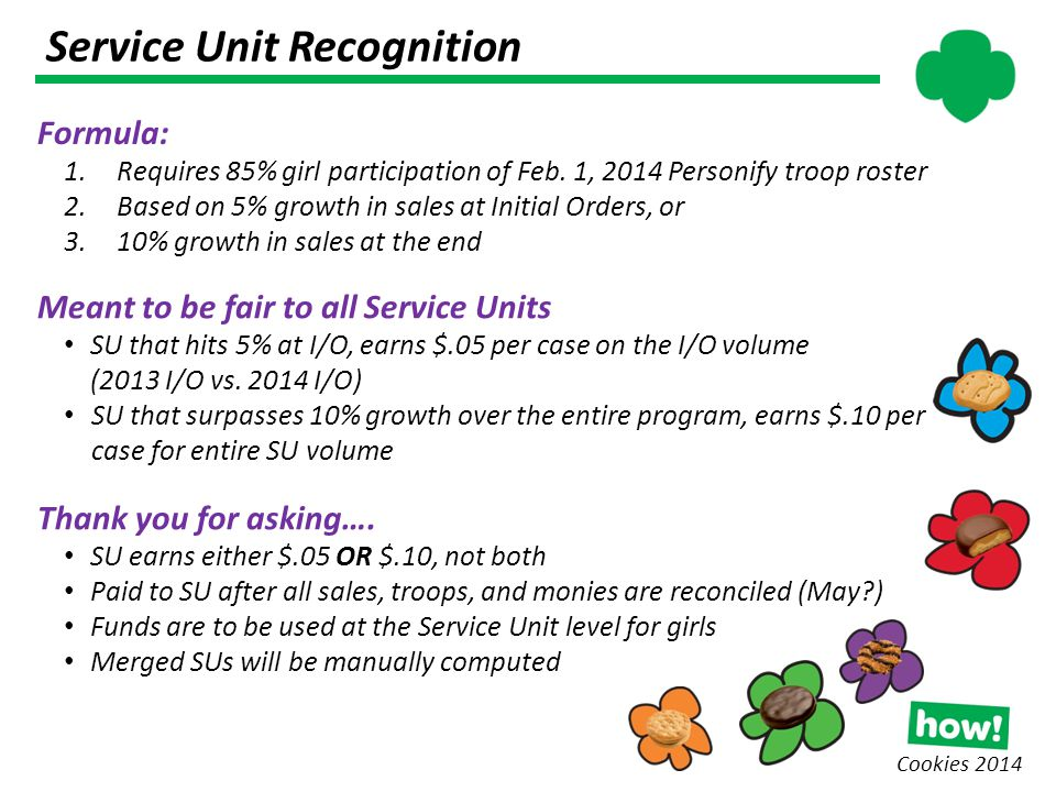 Service Unit Recognition Cookies 2014 Formula: 1.Requires 85% girl participation of Feb.