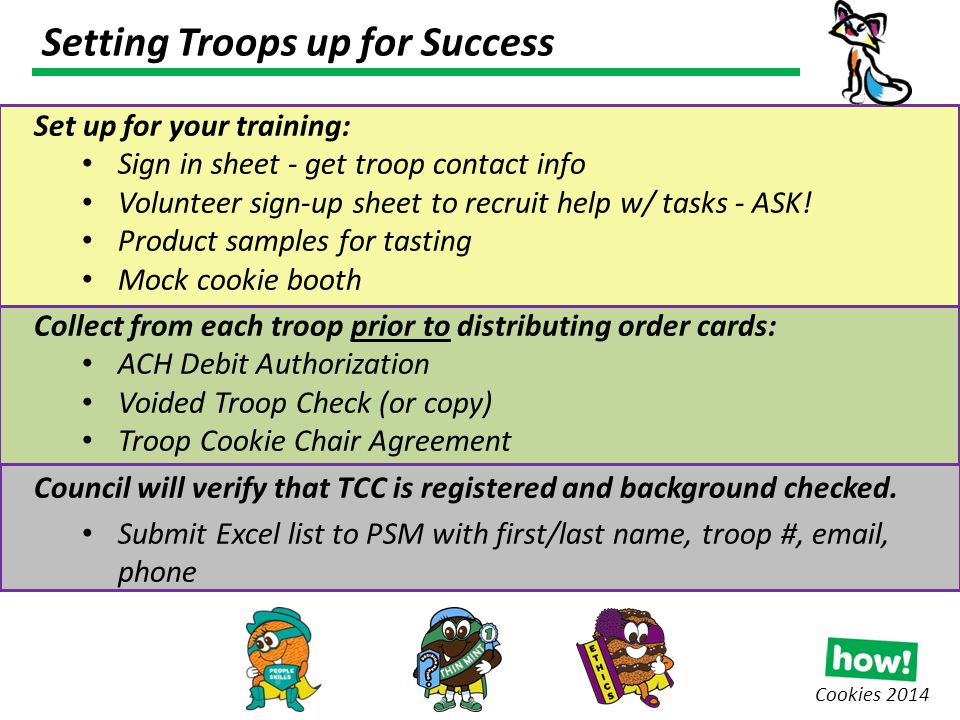 Setting Troops up for Success Cookies 2014 Set up for your training: Sign in sheet - get troop contact info Volunteer sign-up sheet to recruit help w/ tasks - ASK.