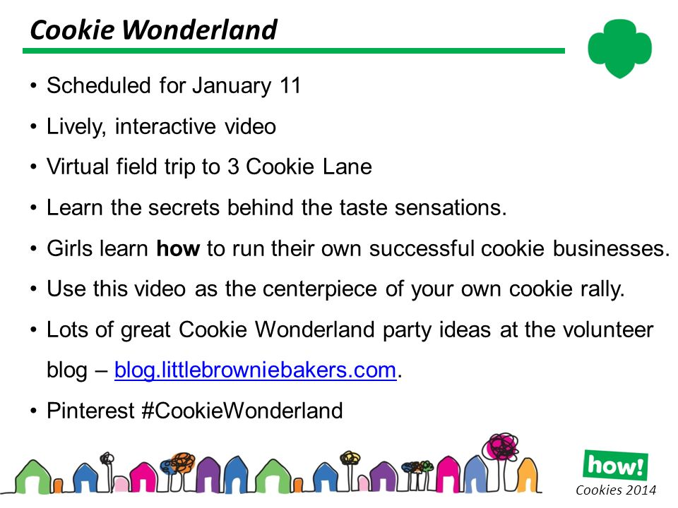 Cookie Wonderland Cookies 2014 Scheduled for January 11 Lively, interactive video Virtual field trip to 3 Cookie Lane Learn the secrets behind the taste sensations.