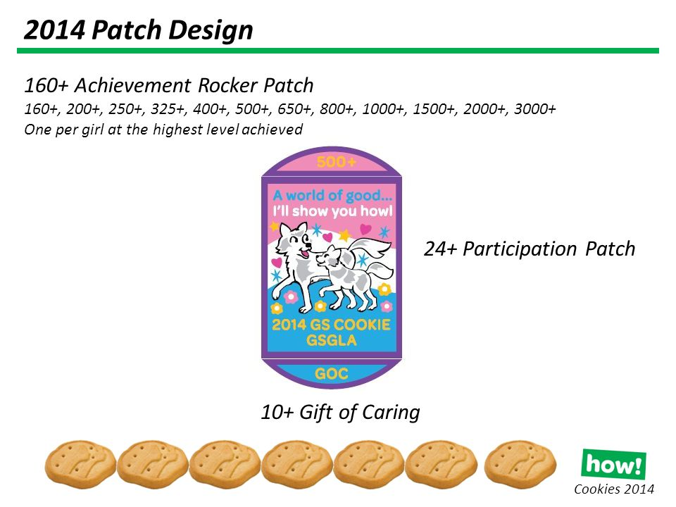 Cookies 2014 2014 Patch Design 24+ Participation Patch 160+ Achievement Rocker Patch 160+, 200+, 250+, 325+, 400+, 500+, 650+, 800+, 1000+, 1500+, 2000+, 3000+ One per girl at the highest level achieved 10+ Gift of Caring