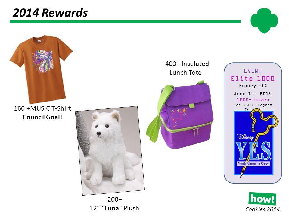 2014 Rewards Cookies 2014 160 +MUSIC T-Shirt Council Goal.
