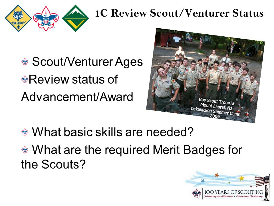 1C Review Scout/Venturer Status Scout/Venturer Ages Review status of Advancement/Award What basic skills are needed.