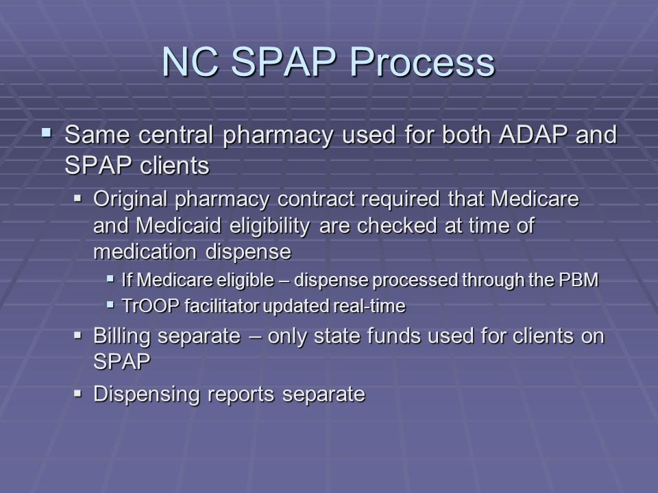 NC SPAP Process  Same central pharmacy used for both ADAP and SPAP clients  Original pharmacy contract required that Medicare and Medicaid eligibility are checked at time of medication dispense  If Medicare eligible – dispense processed through the PBM  TrOOP facilitator updated real-time  Billing separate – only state funds used for clients on SPAP  Dispensing reports separate
