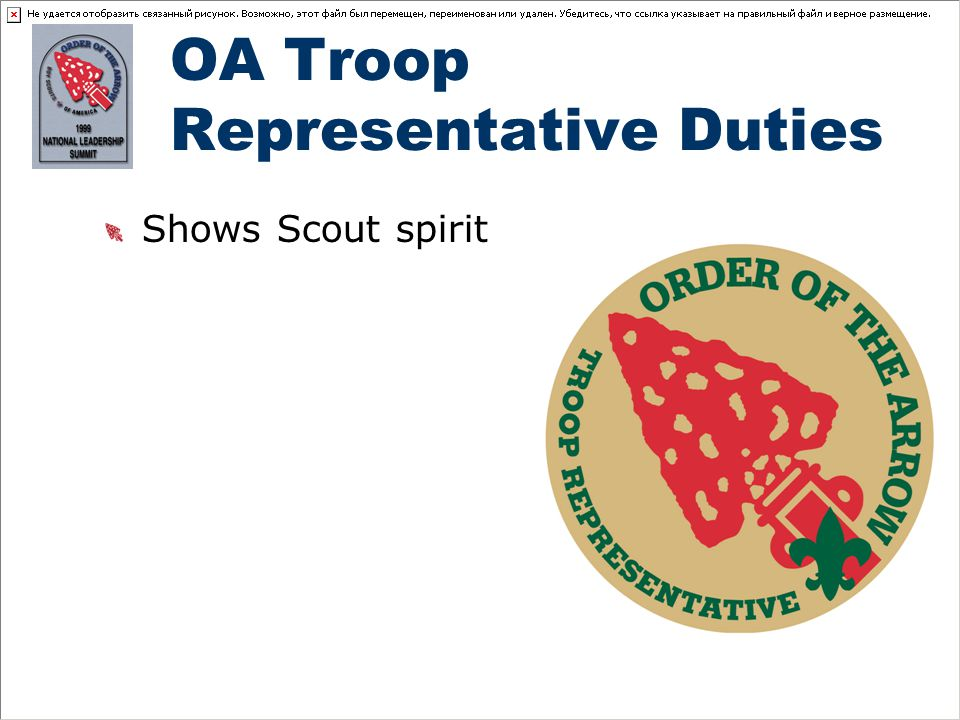 OA Troop Representative Duties Shows Scout spirit
