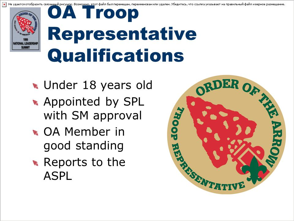 OA Troop Representative Qualifications Under 18 years old Appointed by SPL with SM approval OA Member in good standing Reports to the ASPL
