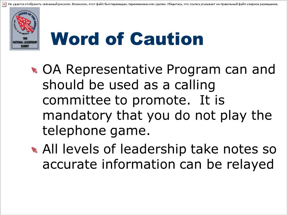 Word of Caution OA Representative Program can and should be used as a calling committee to promote.