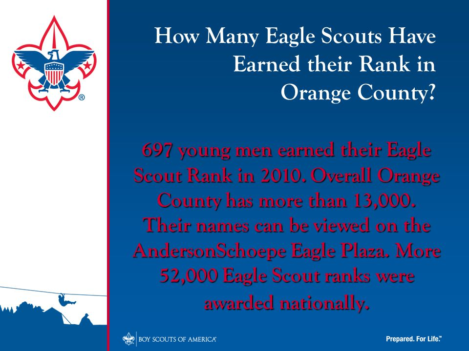 697 young men earned their Eagle Scout Rank in 2010.